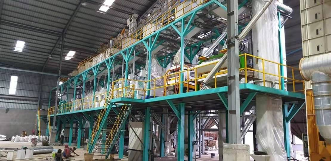 100T大米加工设备钢架平台
