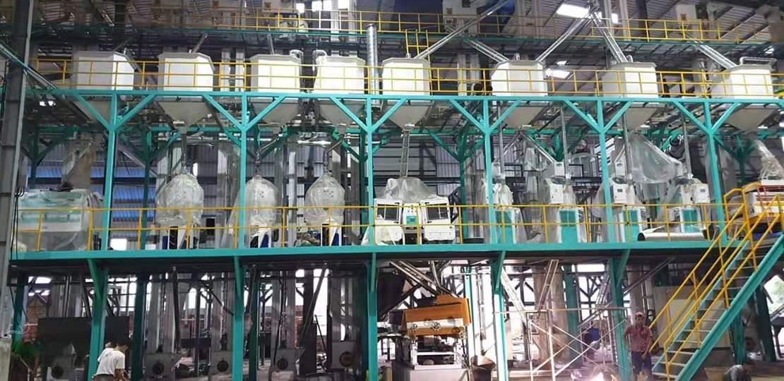 200T大米加工设备钢架平台